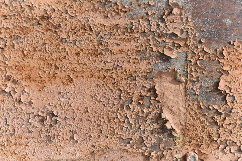 Rostig metalltextur med skrapor och sprickor målarfärg spårar Blåa och smutsiga orange färger Banerdesign kopiera avst?nd arkivfoto