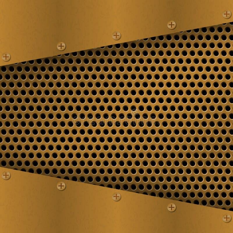 Rostig perforerad metallbakgrund med plattan och nitar metallisk textur för grunge Mässing förkopprar den latticed mallen stock illustrationer