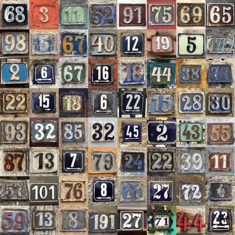 Rostig platta av nummer av gatan fotografering för bildbyråer