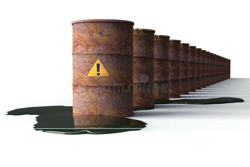 Rostig trumma som läcker olja som isoleras på vit stock illustrationer