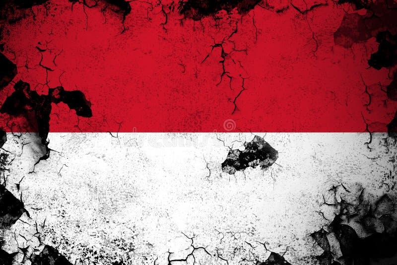 Rostiga Monaco och grungeflaggaillustration vektor illustrationer