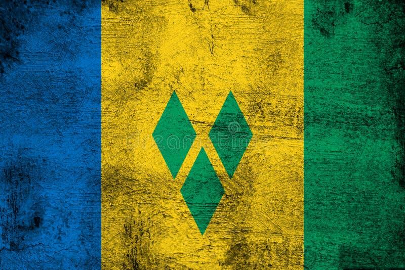 Rostiga Saint Vincent och Grenadinerna och grungeflaggaillustration vektor illustrationer