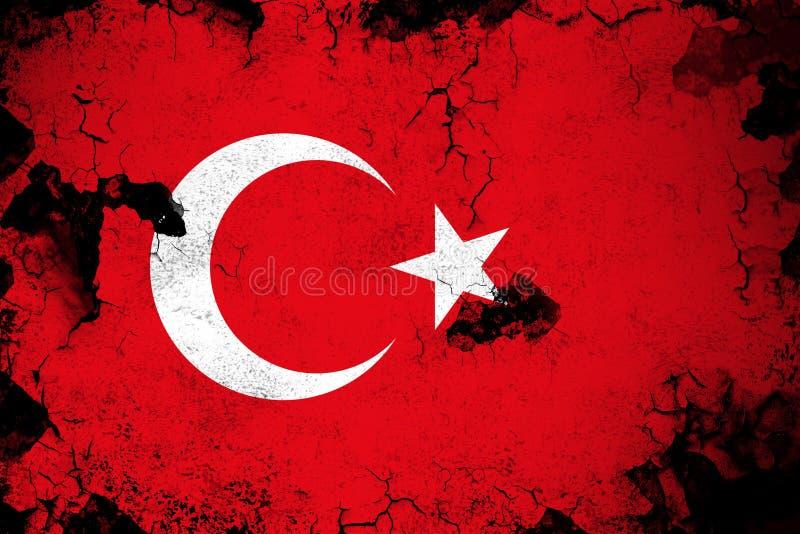 Rostiga Turkiet och grungeflaggaillustration stock illustrationer
