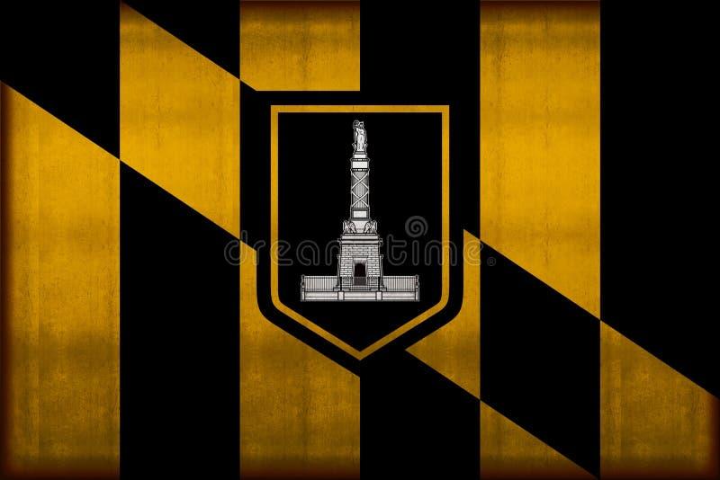 Rostige Flaggenillustration Baltimore-Stadt stock abbildung
