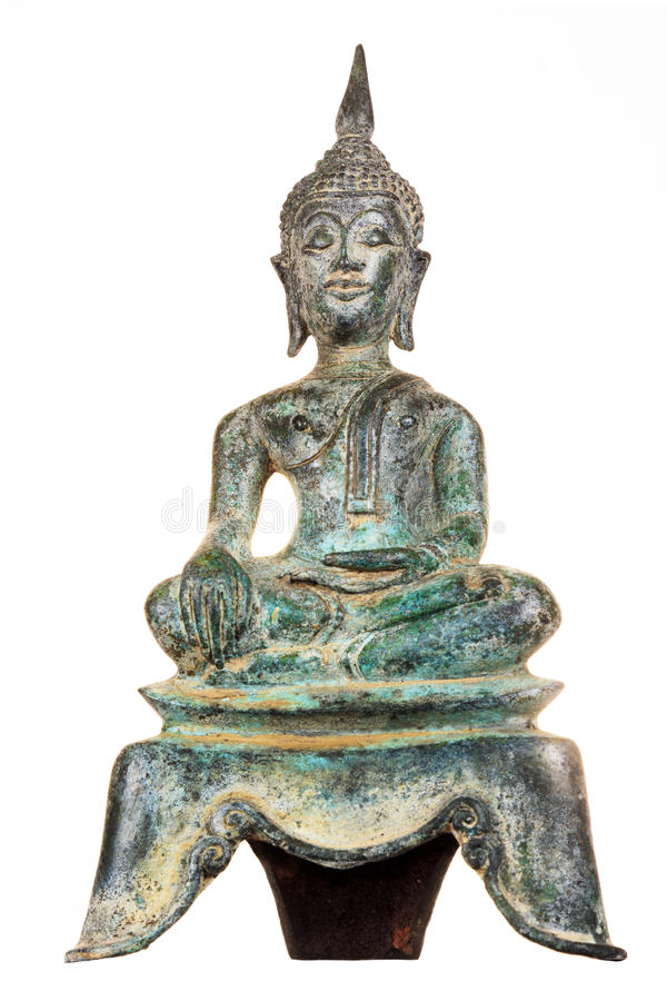 Rostige Weinlesegrün Buddha-Statue stockbilder
