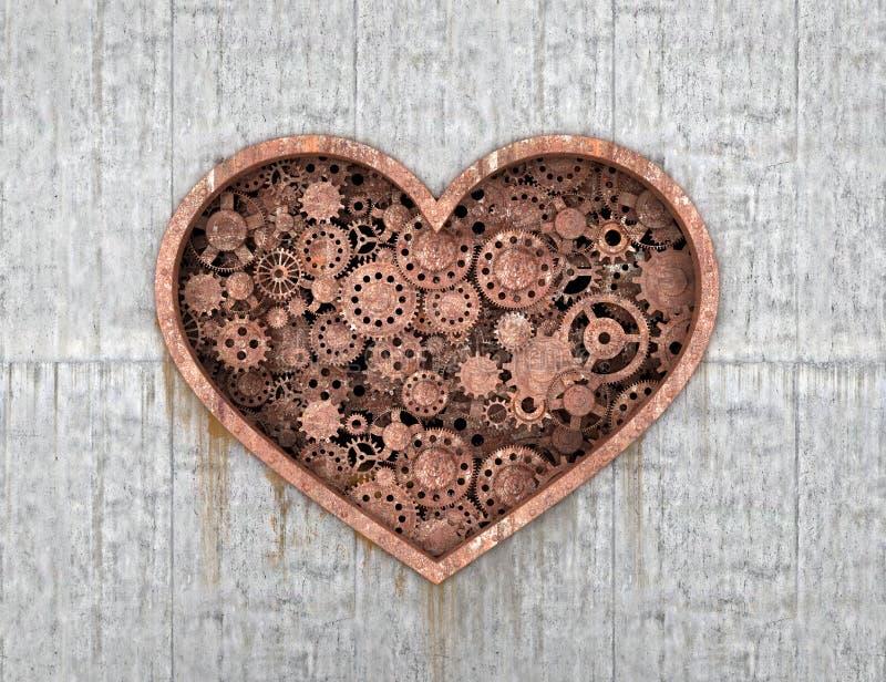 Rostiger Mechanismus in Form von dem Herzen eingebettet stock abbildung