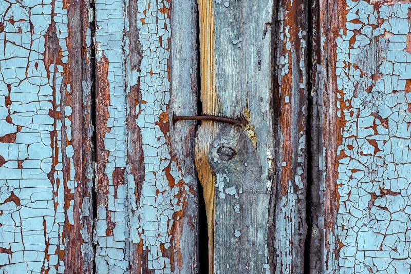 Rostiger Metallnagel schloss sich hölzernem weißem Brett zwei mit geknackt und Kratzer an Schmutz-Holzbeschaffenheit der Nahaufna stockbild