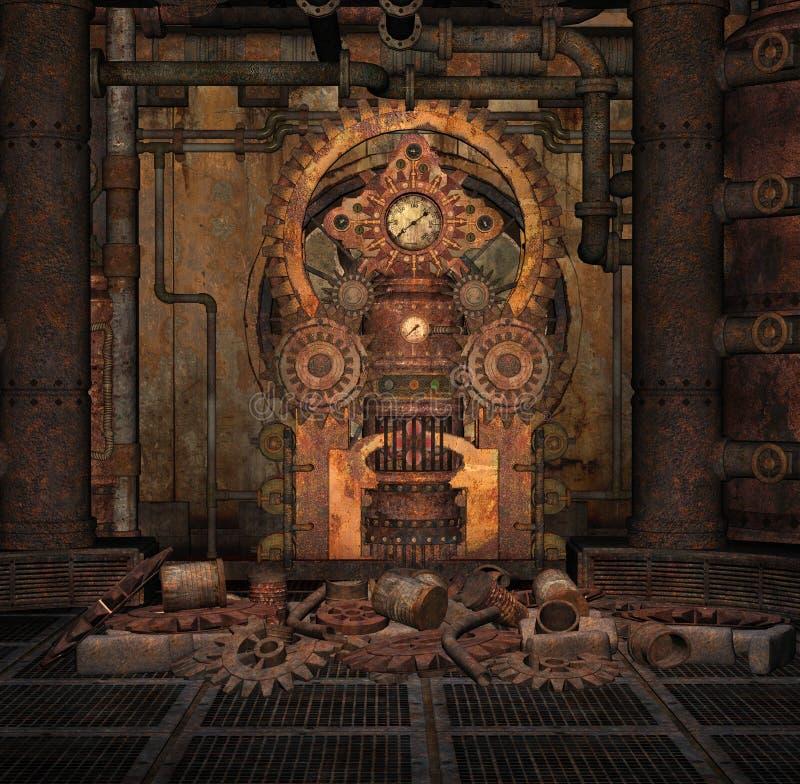 Rostiger und korrodierter steampunk Hintergrund stock abbildung