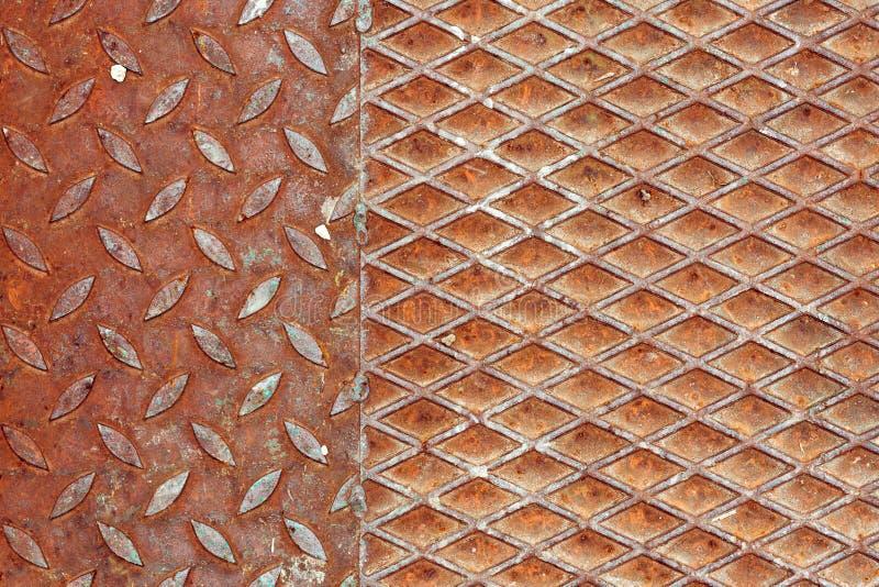 Rostiges Metallrutschfeste Oberflächenbeschaffenheit stockbild