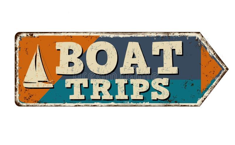 Rostiges Metallschild der Bootsreise-Weinlese stock abbildung