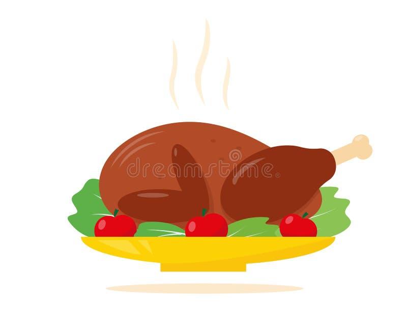 Rostkalkon för Thanksgiving- eller juldiner royaltyfri illustrationer