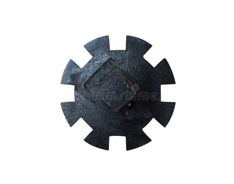Rostkugghjulhjul för bruk i bransch Isolerat på vit fotografering för bildbyråer