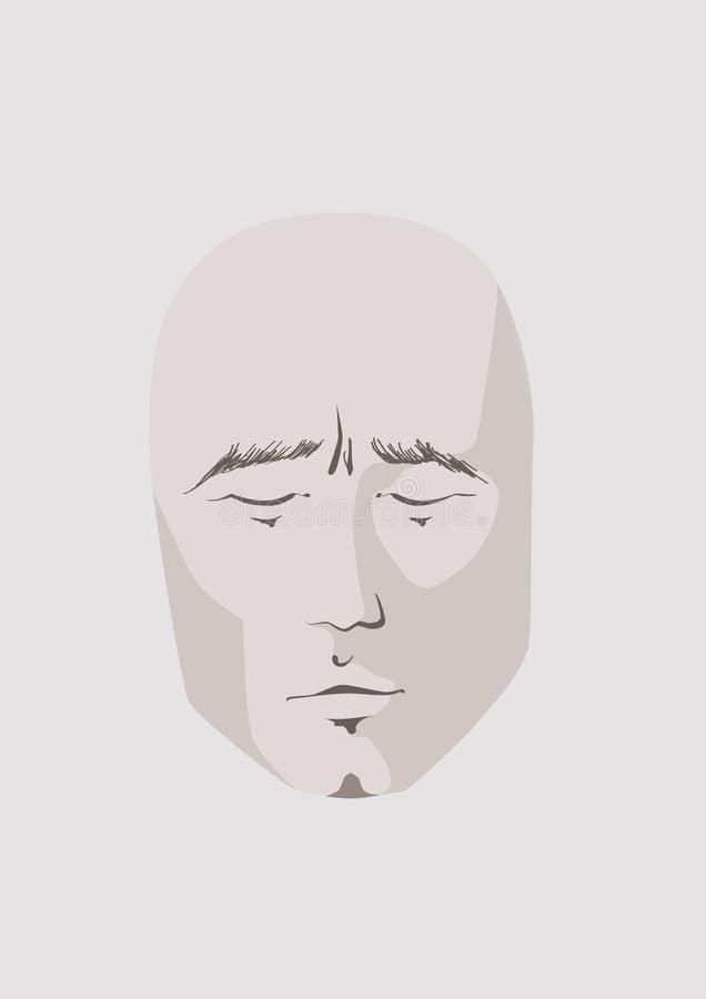 Rosto humano Cara masculina calma com olhos fechados, estilo minimalistic ilustração stock