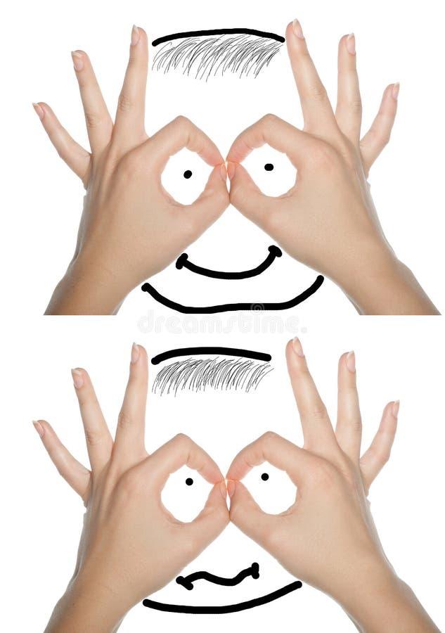 Rosto humano feito das mãos, colagem do conceito. imagens de stock royalty free
