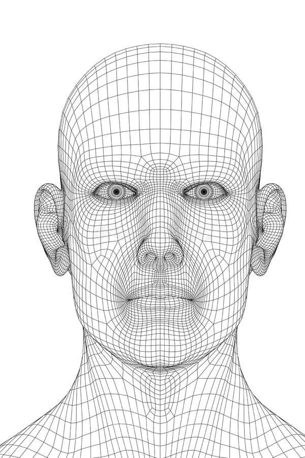 Rosto humano prendido ilustração royalty free
