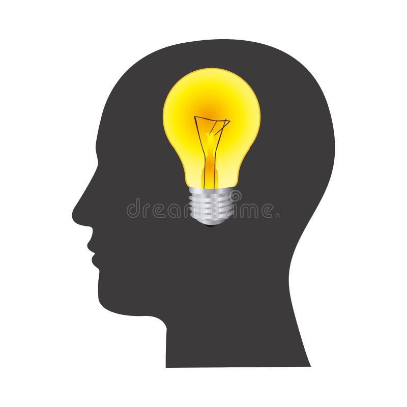 rosto humano preto da silhueta com luz de bulbo na mente ilustração do vetor
