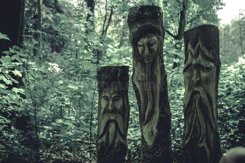 Rosto inscrito na madeira imagem de stock