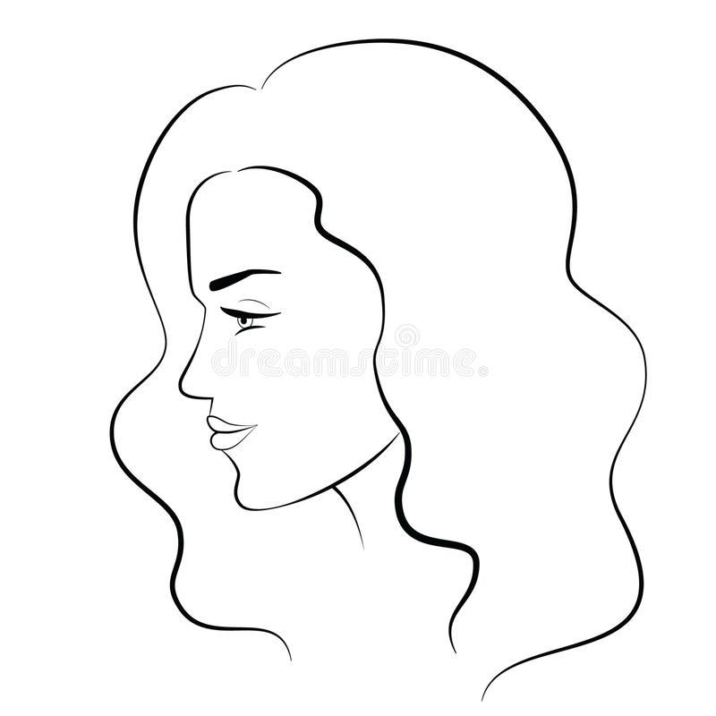 Preto Branco Do Perfil Da Jovem Mulher Ilustracao Stock