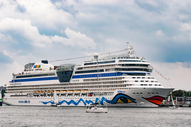 Rostock, Germany - August 2016: : cruise ship from aida in Warnemuende. Rostock, Germany - August 2016: : cruise ship from aida lies in Warnemuende harbour royalty free stock images