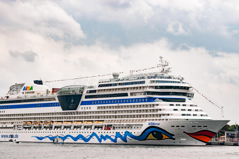 Rostock, Germany - August 2016: : cruise ship from aida in Warnemuende. Rostock, Germany - August 2016: : cruise ship from aida lies in Warnemuende harbour stock photos