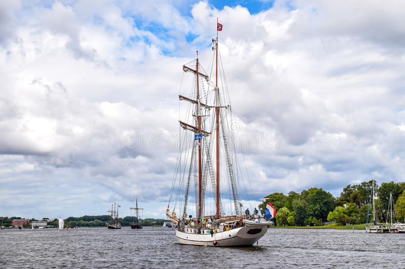 ROSTOCK, GERMANY - AUGUST 2016: two-master sailing ship royalty free stock photography