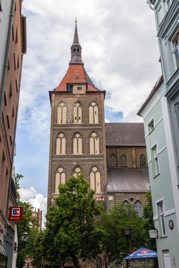 ROSTOCK, GERMANY - CIRCA 2016: St Mary`s church which can be found in the old town of Rostock in Germany royalty free stock photos