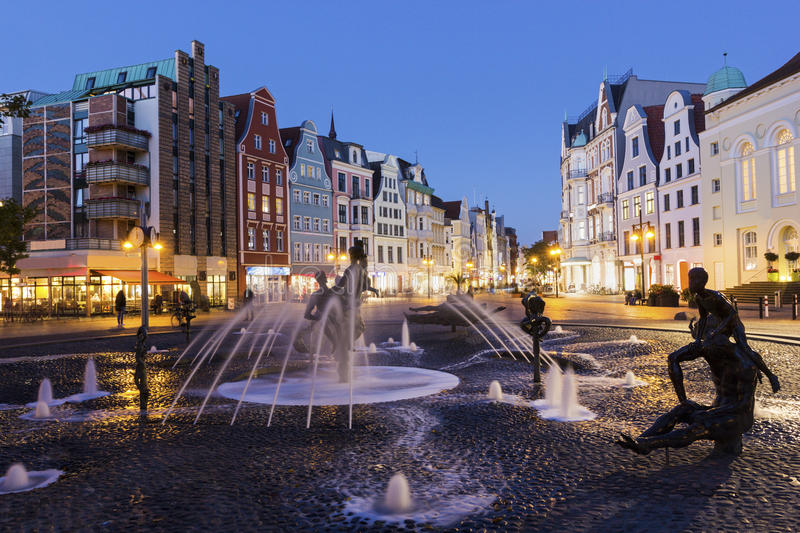 Rostock in Germany. In the evening stock photography