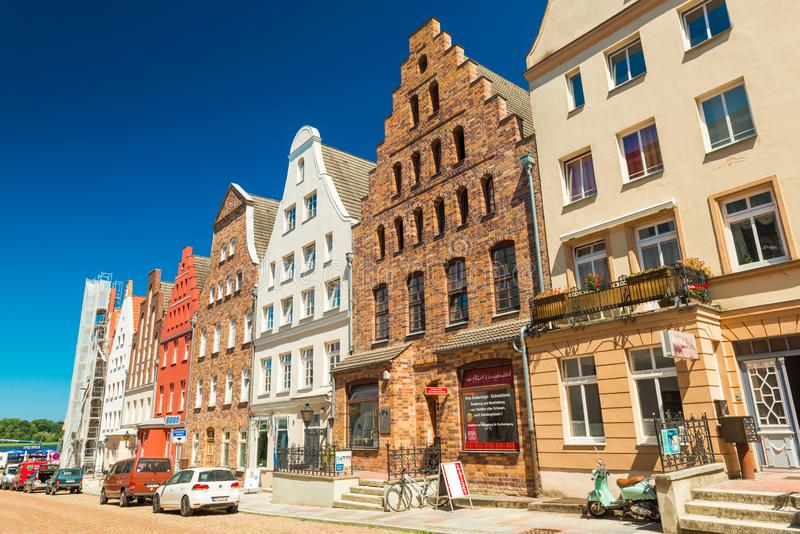 Rostock, Germany: Row of residential houses in the traditional German architecture style royalty free stock photos