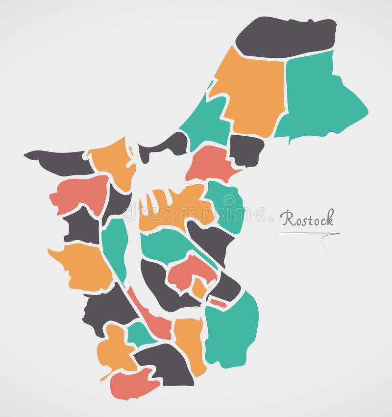 Rostock Map with boroughs and modern round shapes. Illustration vector illustration
