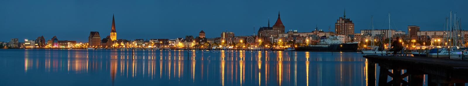 Rostock panoramic view at evening royalty free stock photo