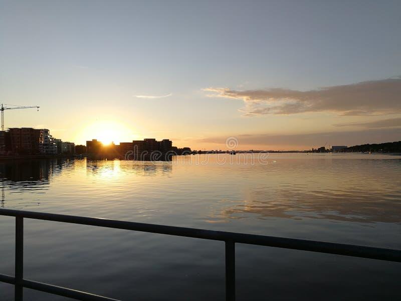 Rostock solnedgång arkivfoton