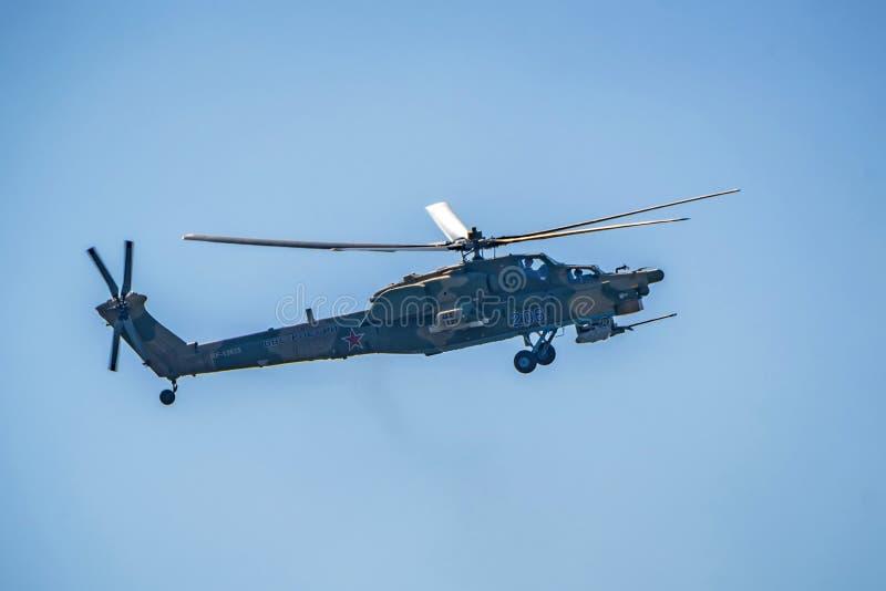 ROSTOV-ON-DON, RÚSSIA - EM AGOSTO DE 2017: Dano Mi-28 imagens de stock