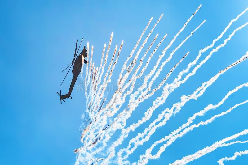 ROSTOV-ON-DON, RÚSSIA - EM AGOSTO DE 2017: Dano Mi-28 imagem de stock royalty free