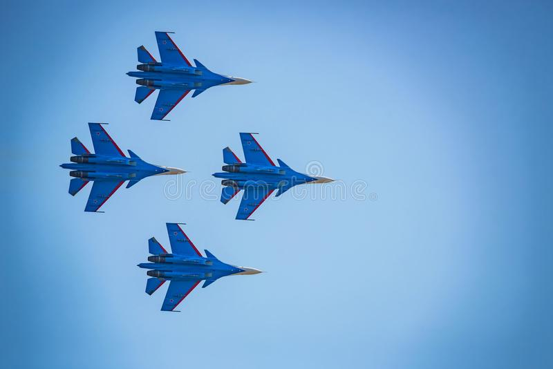 ROSTOV-ON-DON, RUSSIA - AUGUST, 2017: Su-30 from Russian Knights team stock photography