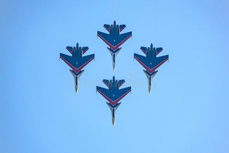 ROSTOV-ON-DON, RUSSIA - AUGUST, 2017: Su-30 from Russian Knights team royalty free stock image