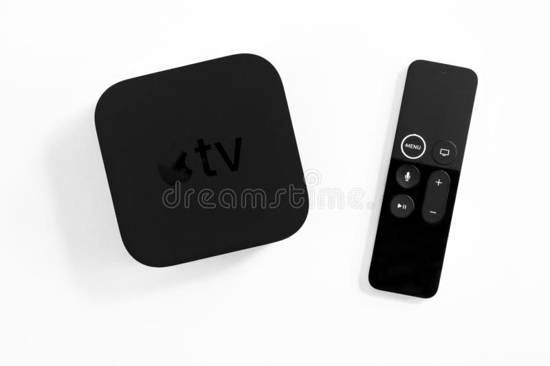 ROSTOV-ON-DON, RUSSIA - DECEMBER 20, 2018:  New Apple TV media streaming  player microconsole by Apple Computers - not isolated on. White. It has new touch royalty free stock photos