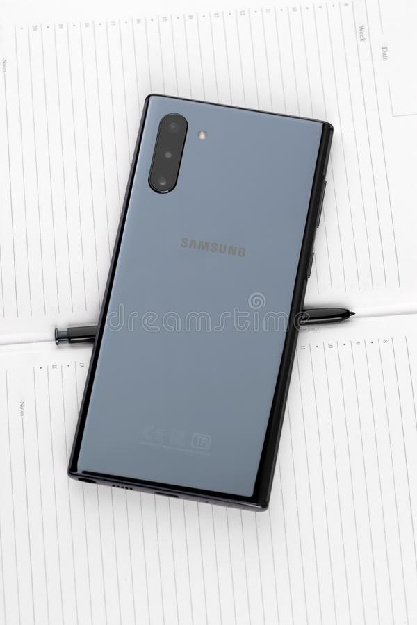 Samsung Galaxy Note 10 on a white background. stock photo