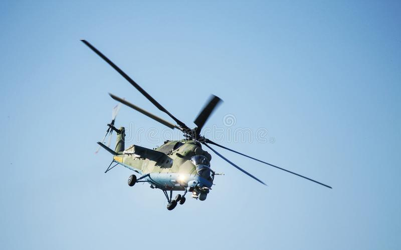 Rostov-on-Don, Russia - July 01, 2014: Russian combat helicopter royalty free stock images