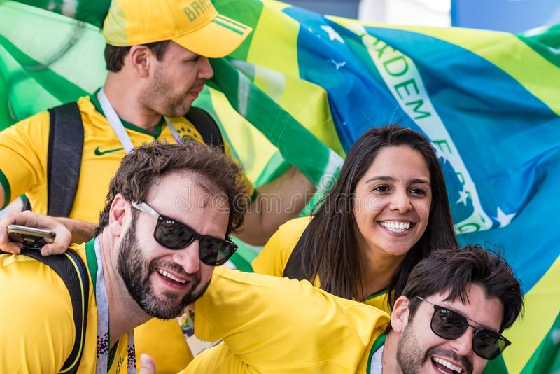 ROSTOV-ON-DON, RUSSIA - JUNE 17, 2018: Group of Brazilian soccer fans. ROSTOV-ON-DON, RUSSIA - JUNE 17, 2018: Group of Brazilian football fans during FIFA World royalty free stock image