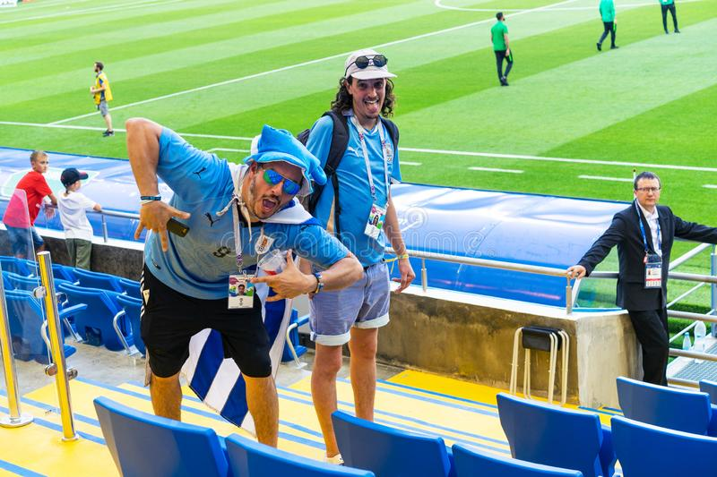 ROSTOV-ON-DON, RUSSIA - 20 June, 2018 Match day at FIFA World Cup Russia 2018 Host City Rostov-on-Don. Uruguay Fans happy in the s. Tands of the stadium Rostov stock image