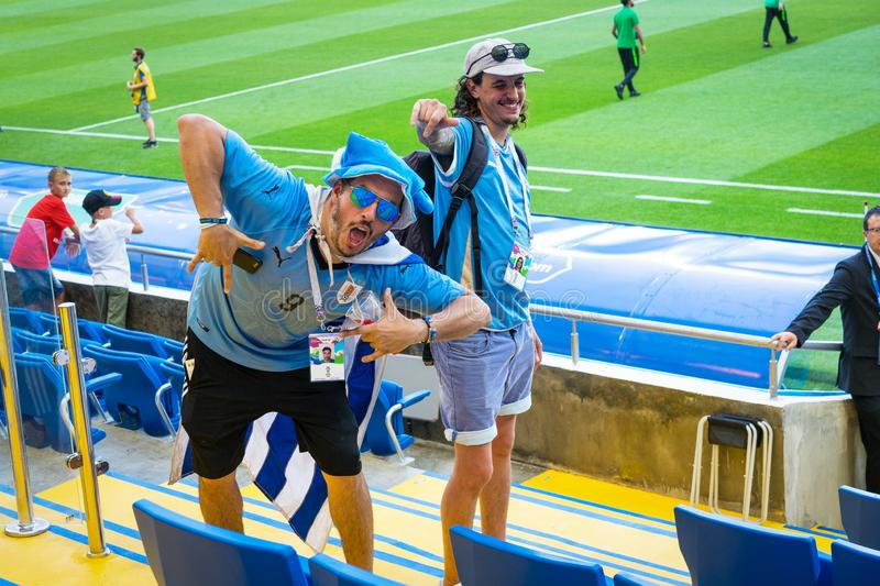 ROSTOV-ON-DON, RUSSIA - 20 June, 2018 Match day at FIFA World Cup Russia 2018 Host City Rostov-on-Don. Uruguay Fans happy in the s. Tands of the stadium Rostov royalty free stock photos