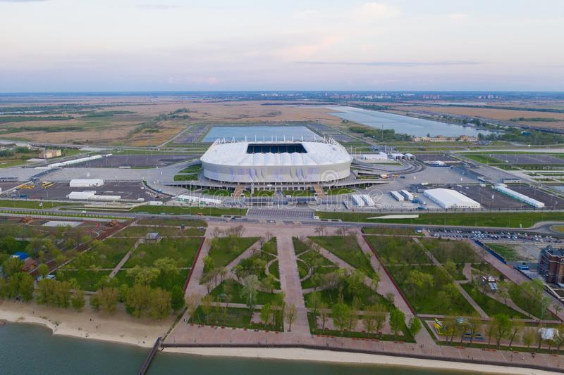 ROSTOV-ON-DON, RUSSIA - MAY 2019: Aerial view of stadium Rostov Arena stock photography