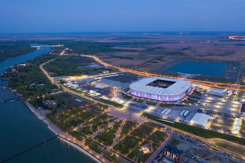 ROSTOV-ON-DON, RUSSIA - MAY 2019: Aerial view of stadium Rostov Arena.  stock images