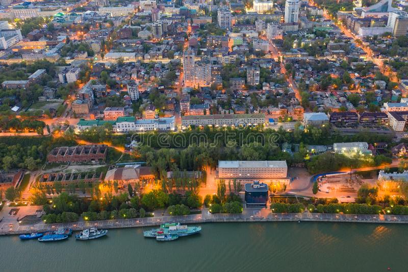 ROSTOV-ON-DON, RUSSIA - MAY 2019: Evening river Don in Rostov-on-Don.  stock photography