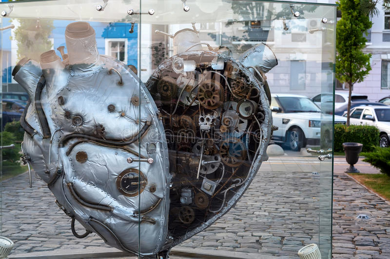 ROSTOV-ON-DON, RUSSIA - MAY, 2017: heart monument stock photography