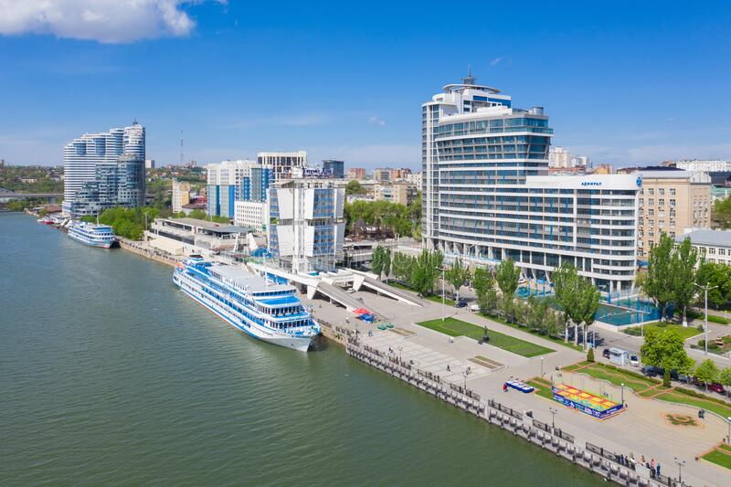 ROSTOV-ON-DON, RUSSIA - MAY 2019: Riverport on the waterfront. Rostov-on-Don. Russia.  royalty free stock image
