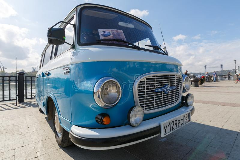 Cyan retro minivan Barkas B1000 at the show of old cars on embankment of Don river. Front view stock photography