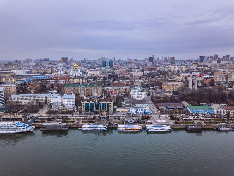 Rostov-on-Don. Russian Federation. 05/09/2019. Aerial shot stock photography