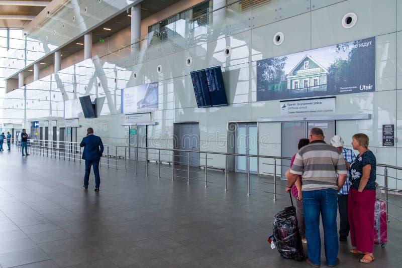 Rostov-On-Don, Russie - 11 septembre 2018 : Touristes dans le secteur de départ dans l'aéroport international Platov Intérieur du photo libre de droits