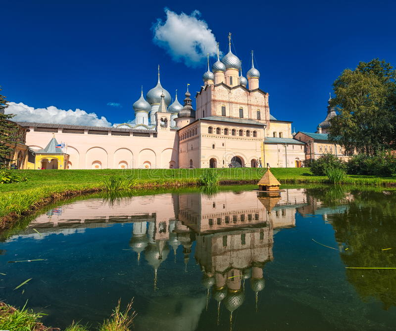 Rostov Kremlin, Golden Ring, Russia. Russian orthodox cathedral in Rostov Kremlin, Golden Ring, Russia stock photography